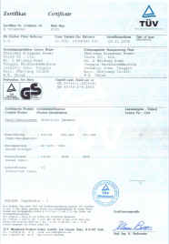 Click Picture for an enlargement of rotary hammer certificate.